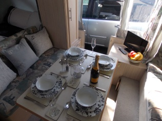 Table Laid For Dinner for Four. This Fiesta Includes The Optional Wardrobe